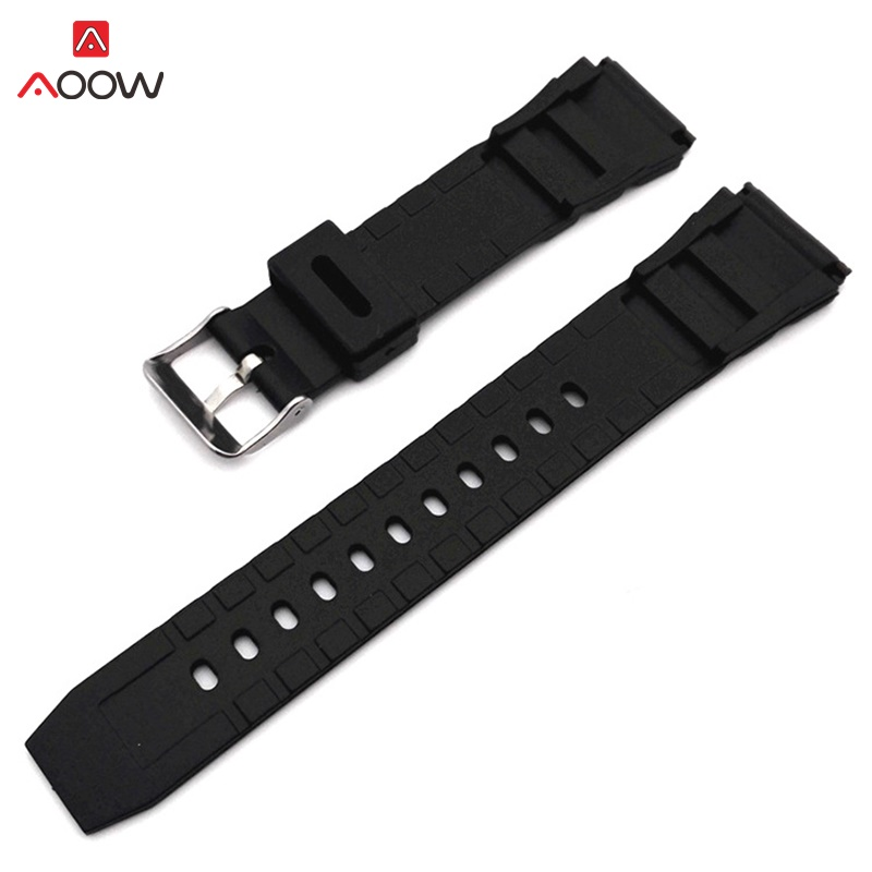 AOOW Rubber Watchbands 18 20 22mm Men Black Sport Diving Silicone Watch Strap Band Metal Buckle For g-shock Watch Accessories 20mm watch band strap watchbands for men s women sport diving silicone rubber black blue silver buckle relojes hombre