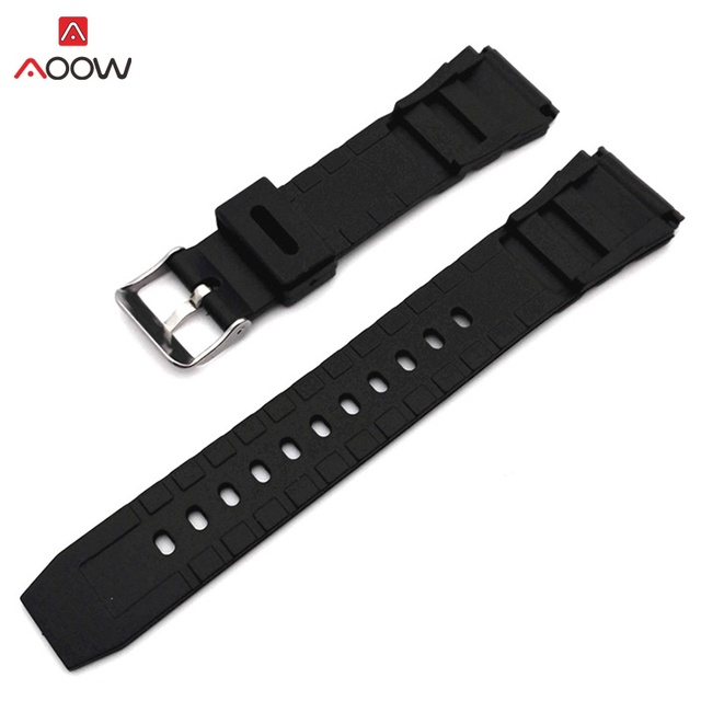 AOOW Rubber Watchbands 18 20 22mm Men Black Sport Diving Silicone Watch Strap Ba