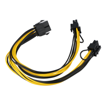 8Pin Female to Dual 2 Port 8Pin ( 6+2Pin ) Male PCI-E PCI Express Cable GPU Graphics Video Card Power Cable 18AWG Wire image
