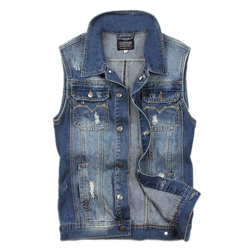 Mens Jeans chaleco Denim 2015 moda Slim Fit chaleco Jeans