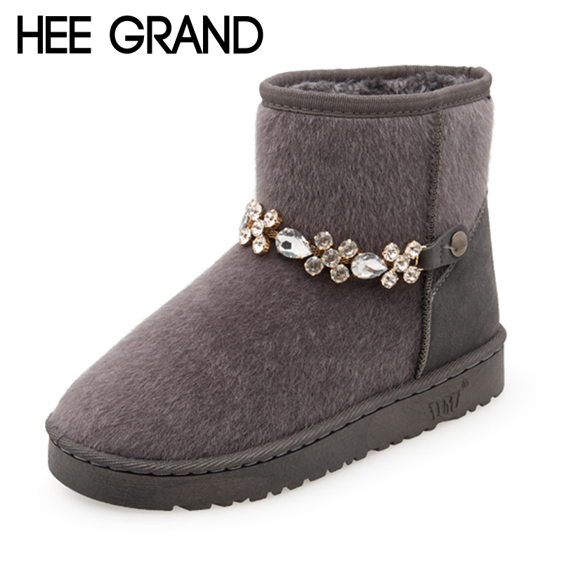 HEE GRAND Bling Bling Chain Flock Warm Ankle Women Snow Boots 2017 Fashion Shoes Woman Slip On Flats Creepers Size 36-40 XWX6579 hee grand inner increased winter ankle boots warm fringe fashion platform women snow boots shoes woman creepers 3 colors xwx6180
