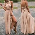 Женское длинное платье-трансформер, темно-синее вечернее платье-макси с запахом и вырезами, для подружки невесты