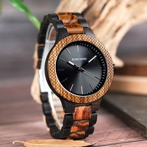 Image 2 - בובו ציפור סיטונאי קלאסי גברים של עץ שעונים שעון לוגו מותאם אישית יד שעונים גברים עם רשת לוח relogio masculino LD30 1