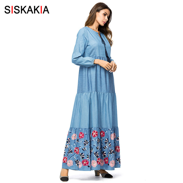 Siskakia Denim long dress for women Tall maxi dresses fashion color block Floral Embroidery swing dress Fall Autumn 2018 Muslim
