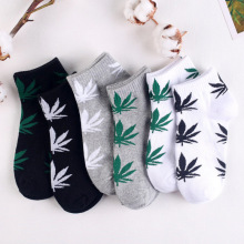 Leaves Men s Socks Cotton Spring Funny Socks Black white grey Tricolor Street Fashion Cotton Gifts