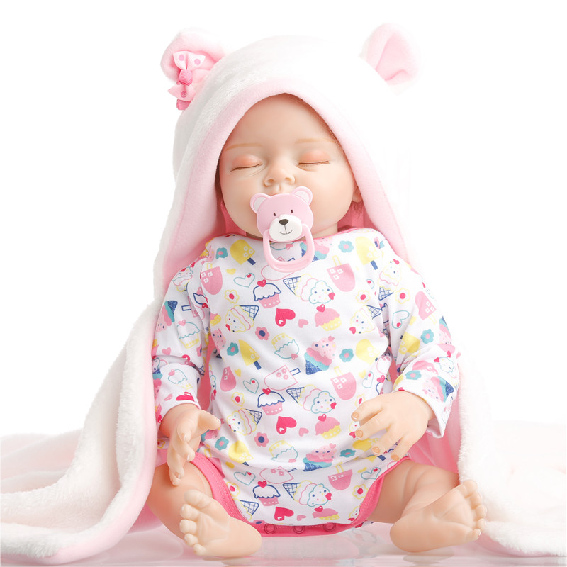 SanyDoll 22 inch 55 cm hot sale solid silicone reborn baby Beautiful lovely sleeping doll holiday gift
