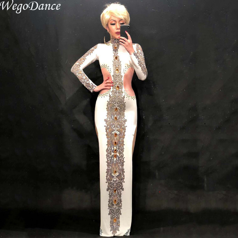 Chinese Cheongsam White Printed Dress Women's Dance Wear Female Singer Costume One-piece Nightclub Oufit Party Dresses