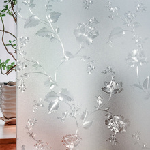 Peony flower electrostatic glass sticker window 3d bathroom washroom sliding door matte transparent opaque paper foil
