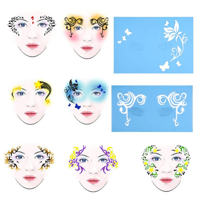 7pcs set reusable face paint stencil body painting template flower