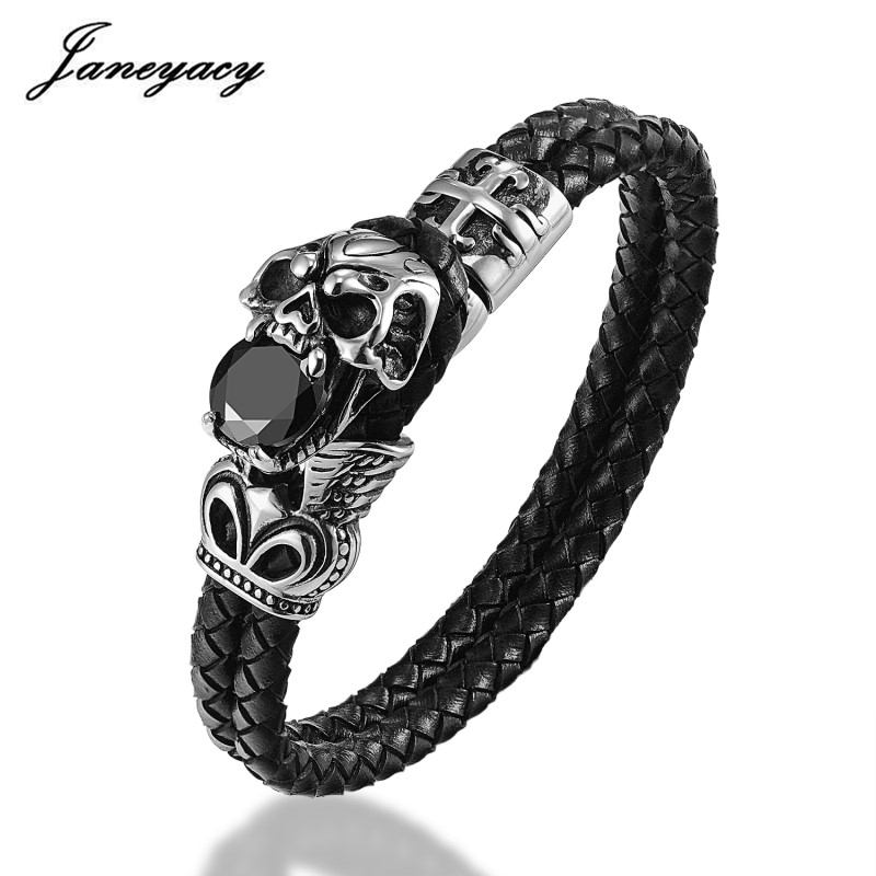 Janeyacy 2018 High Quality Fashion Genuine Leather Bracelet Stainless Steel Jewelry Cool Punk Rock Style Skull Men's Bracelets