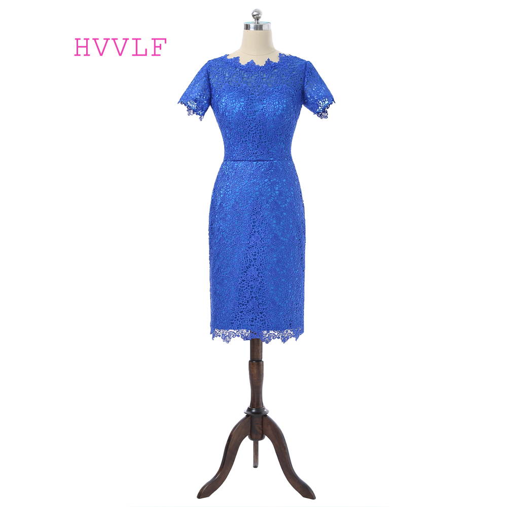 Royal Blue 2019 Mother Of The Bride Dresses Sheath Knee Length Lace Plus Size Short Formal Groom Mother Dress For Wedding