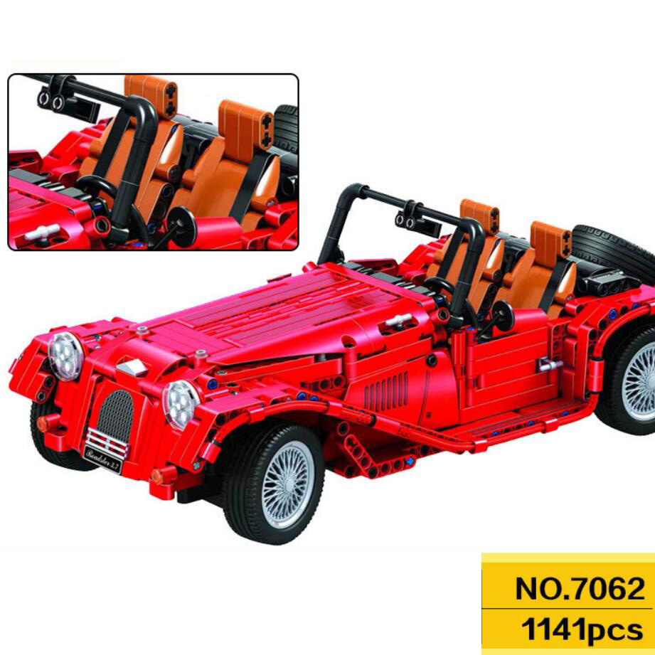 Classic 1:10 scale technics red convertible building block Vintage car bricks assemable model toys collection for giftsClassic 1:10 scale technics red convertible building block Vintage car bricks assemable model toys collection for gifts