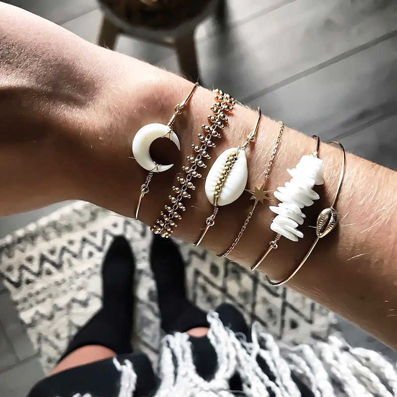 Bone Ethnic Mix Gemstone Sterling Silver Eclipse WhiteBrown Ombre Boho Statement Bracelet Tibetan Conch Shell Bead Stretch Bracelet