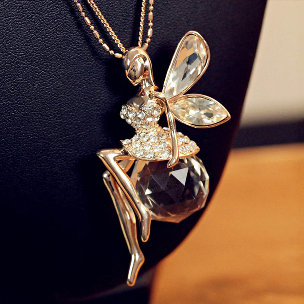 Angel Wings Butterfly Wings Fairy Crystal Necklace&Pendants Sweater Chain Rhinestone Long Necklace Jewelry