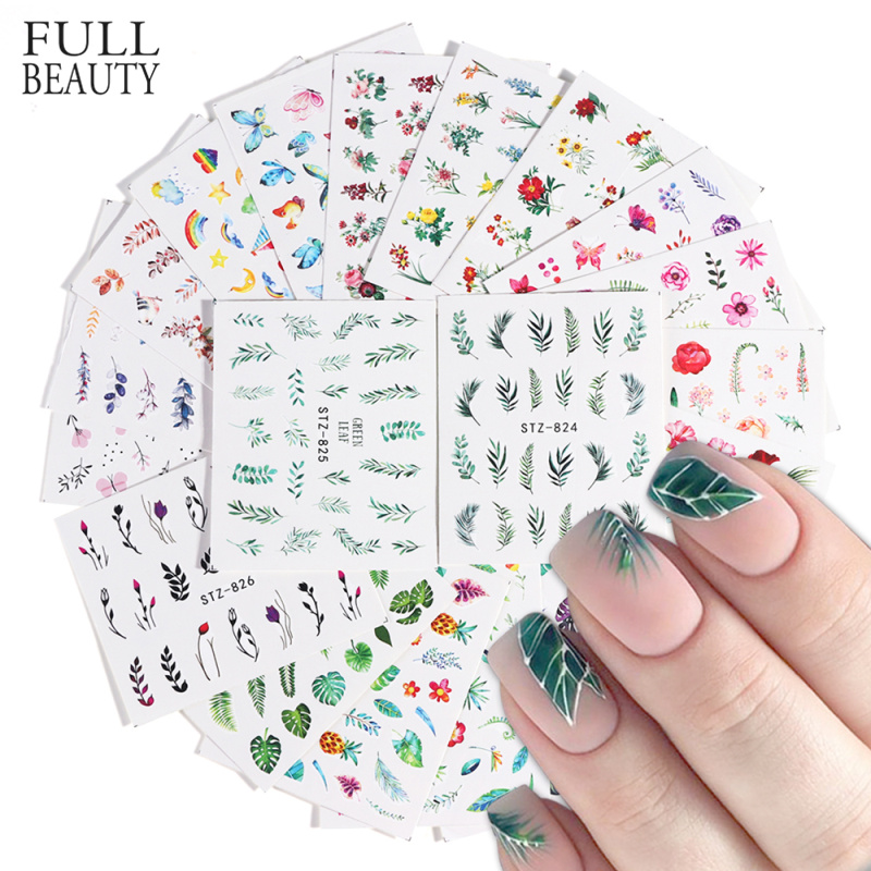 29pcs Simple Green Black Leaf Water Sticker Nail Polish Flower Flamingo Slider For Manicure Nail Art Decoration Wraps Set CH764