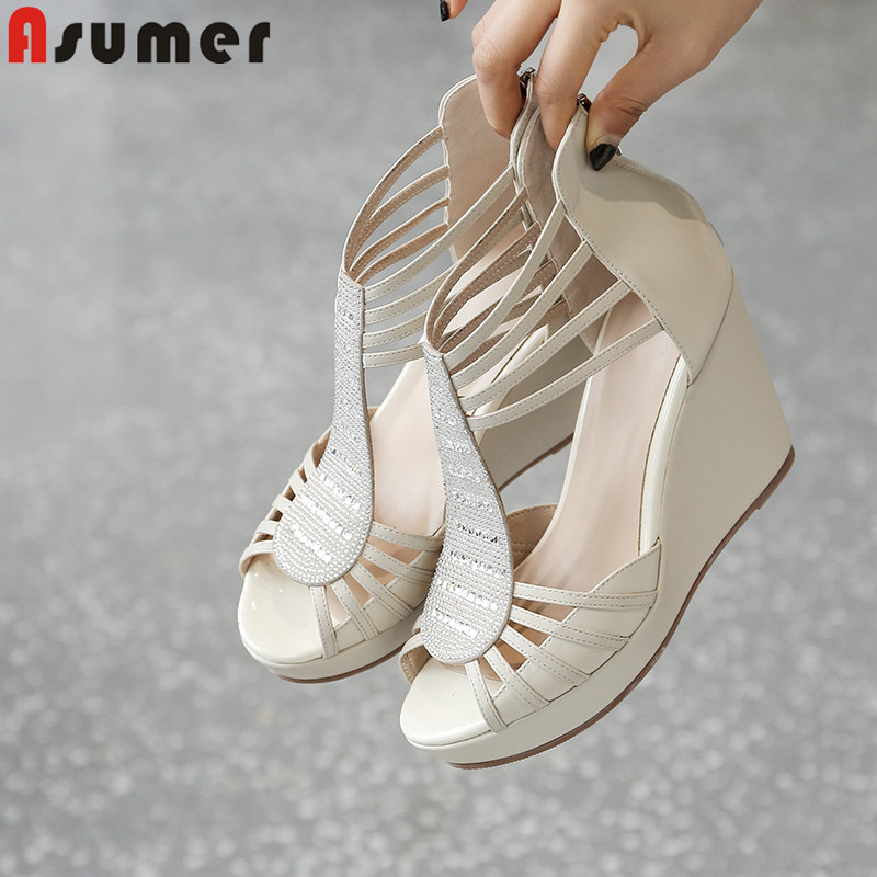 Asumer 2019 new summer sandals casual genuine leather shoes platform wedges sandals zip high heels shoes