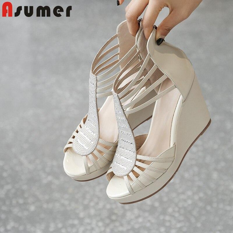 Ayakk.'ten Yüksek Topuklular'de Asumer 2019 yeni yaz sandalet rahat hakiki deri ayakkabı platformu takozlar sandalet zip yüksek topuklu ayakkabılar kadın sandalet'da  Grup 1