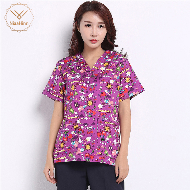 Unisex Medical Surgical Beauty Salon Uniform Cotton Pharmacy Print Coat Scrubs Medical Uniform Women Nurse Uniform Work Clothes