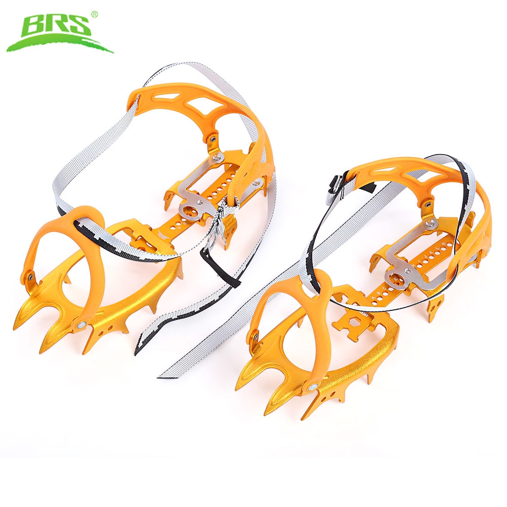BRS Paired Ultralight Aluminum Alloy 14 Teeth Bundled Crampons for Mountaineering Hiking Climbing round snow ice climbing mountaineering shoes crampons orange pair