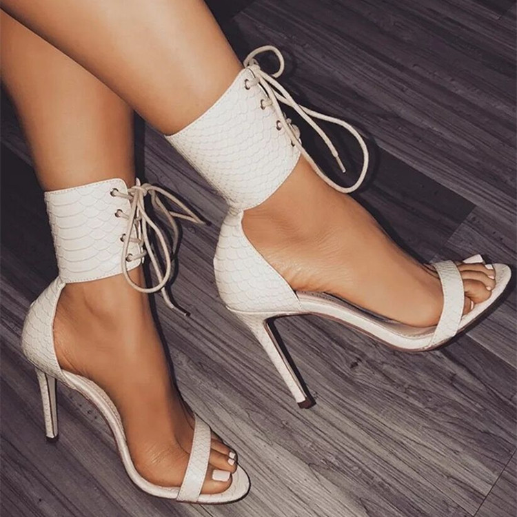 new arrival best quality sale uk Classy White Black Rope Style Thin High Heels Sandals Women Cross ...