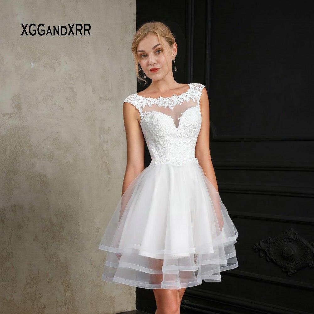 New White Short Wedding Dress 2019 Ball Gown Bride Dress Scoop Cap Sleeves Mini Lace Applique