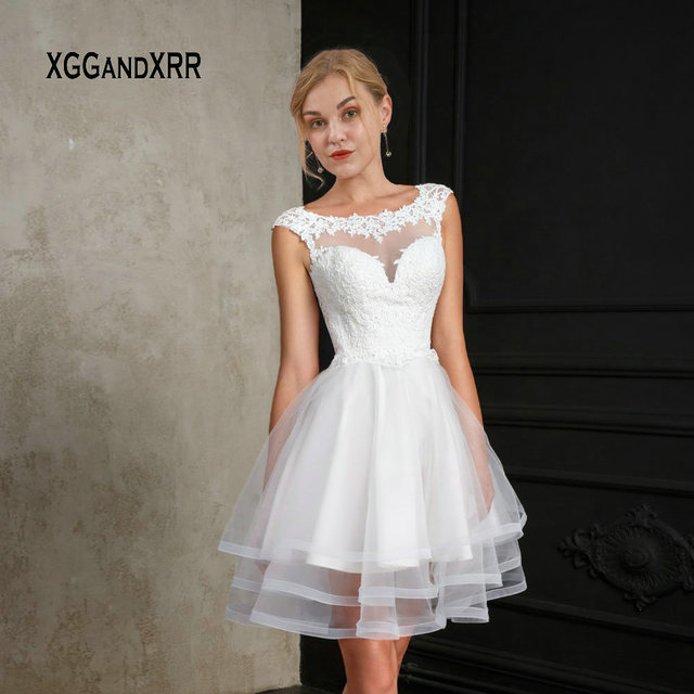 2019 Wedding Dresses With Sleeves: New White Short Wedding Dress 2019 Ball Gown Bride Dress