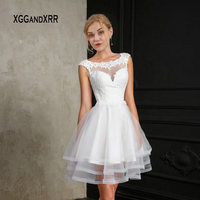 New White Short Wedding Dress 2019 Ball Gown Bride Dress Scoop Cap Sleeves Mini Lace Applique Layers Ruffle Fluffy Bridal Dress