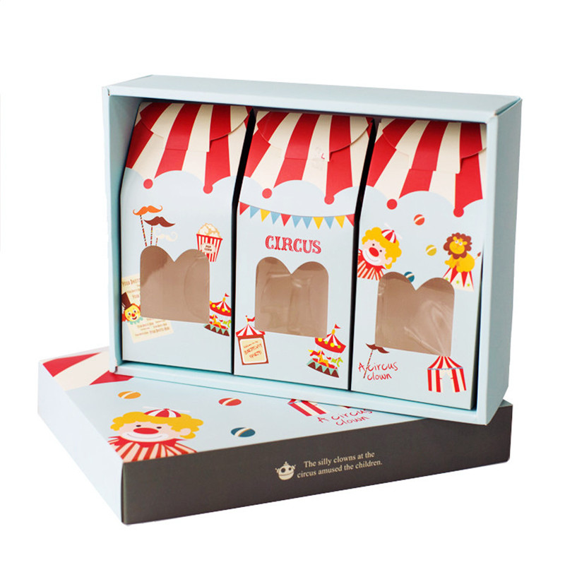 Omilut Circus Candy Box Circus Happy Birthday Party Kid Handmade Biscuits Package Bag Kids Gift Package Boxes Supplies