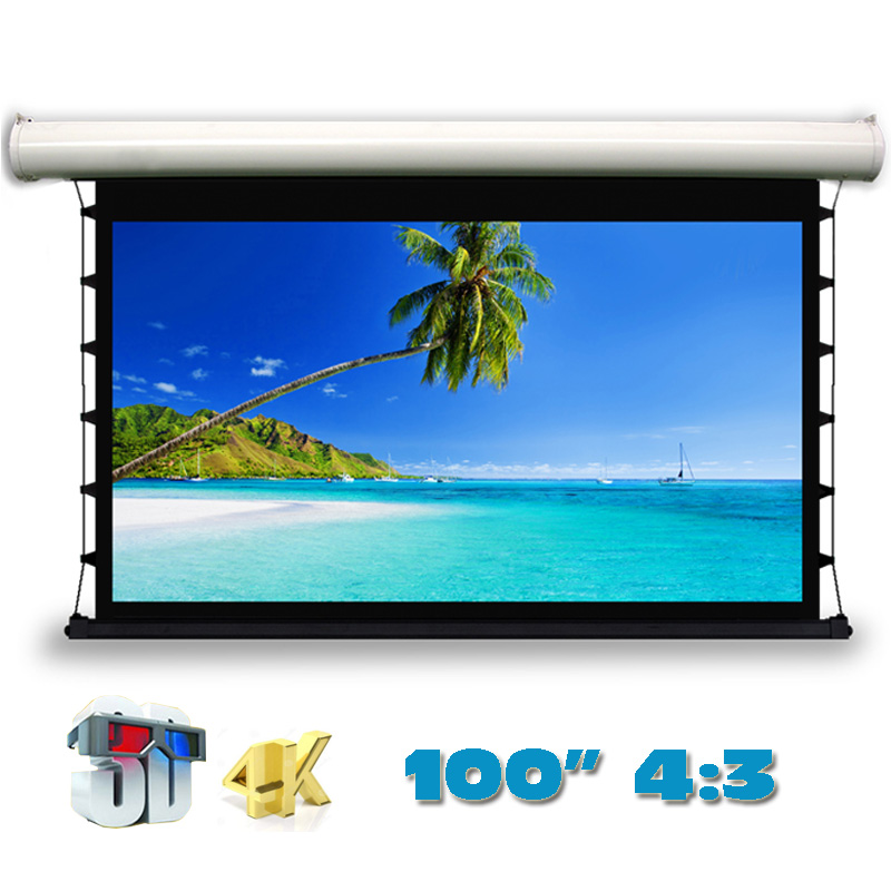 3D 4K 100 inch 4:3 Top-ranking Electric Tab-Tension Projection Screen for LED LCD HD Cinema Motorized Projector Screens luxury motorized electric tab tension 139inch 16 10 matte white home theater high quality cinema projector screen