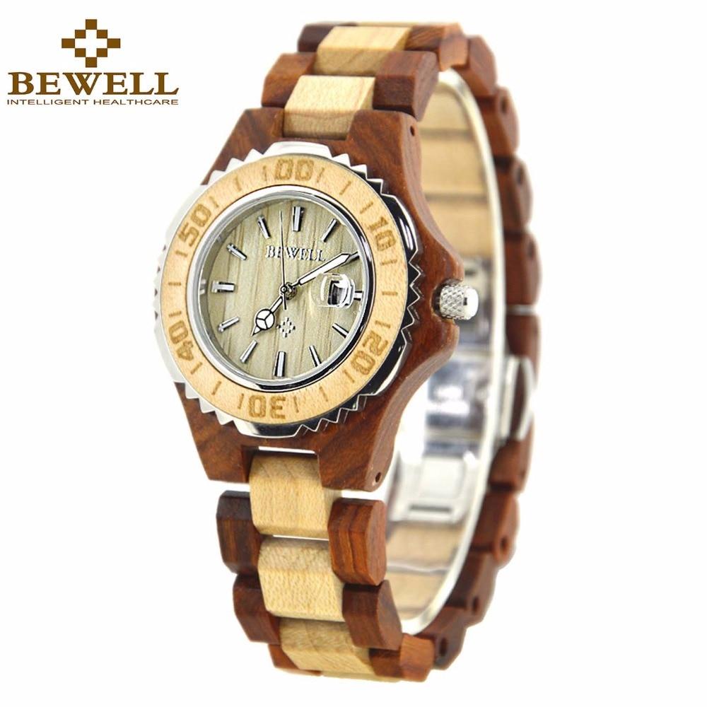 BEWELL Reloj de madera para mujer Movimiento de cuarzo Marca Relojes de lujo de madera Reloj de pulsera de sándalo para dama Relogio Feminio 100BL