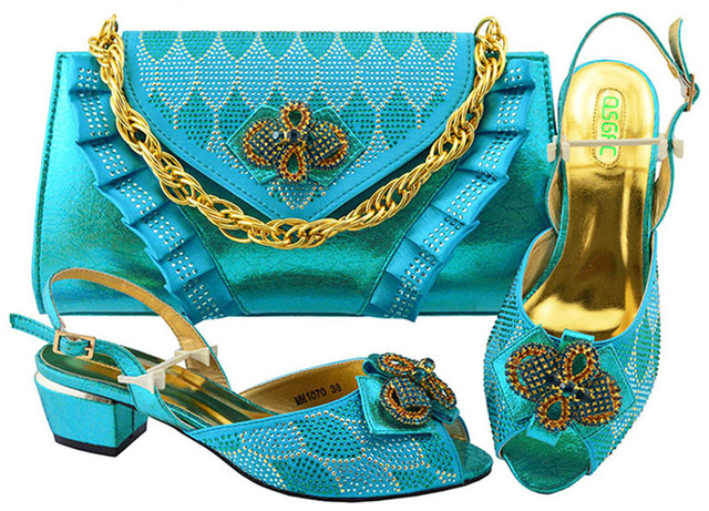 New Arrival Italian Designer Shoes and Bags Matching Set Decorated with Rhinestone Fashion Shoes and Bag Set African Sets MM1070
