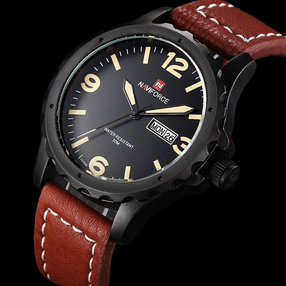 Prix pour New NAVIFORCE Relogio masculin Date jour horloge hommes bracelet en cuir poignet militaire montre de sport hommes mode Casual montre à Quartz