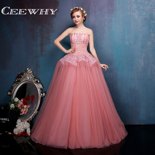 Tulle Crystal Appliques Strapless Ball Gown Vintage Formal Gowns Dress  Floor-Length Quinceanera Dresses Coral Sweet 16 Dresses aa5206357aa5