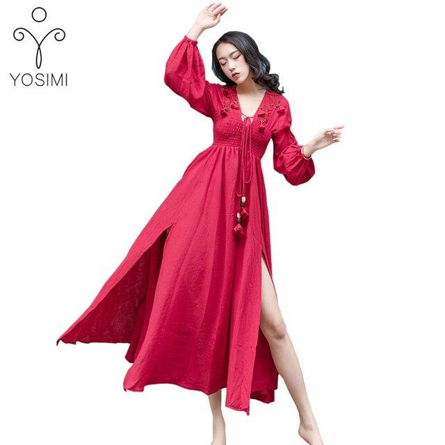 c3e78cd5fe7 YOSIMI 2018 Spring High Quality Maxi Elegant Cotton And Linen Designs Fairy Long  Dress For Travel V-neck Vintage Bohemian Dress