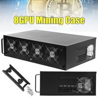 8 GPU Open Air Mining Miner Frame Rig Case For BTC ETH Ethereum Bitcoin + 4 Fan