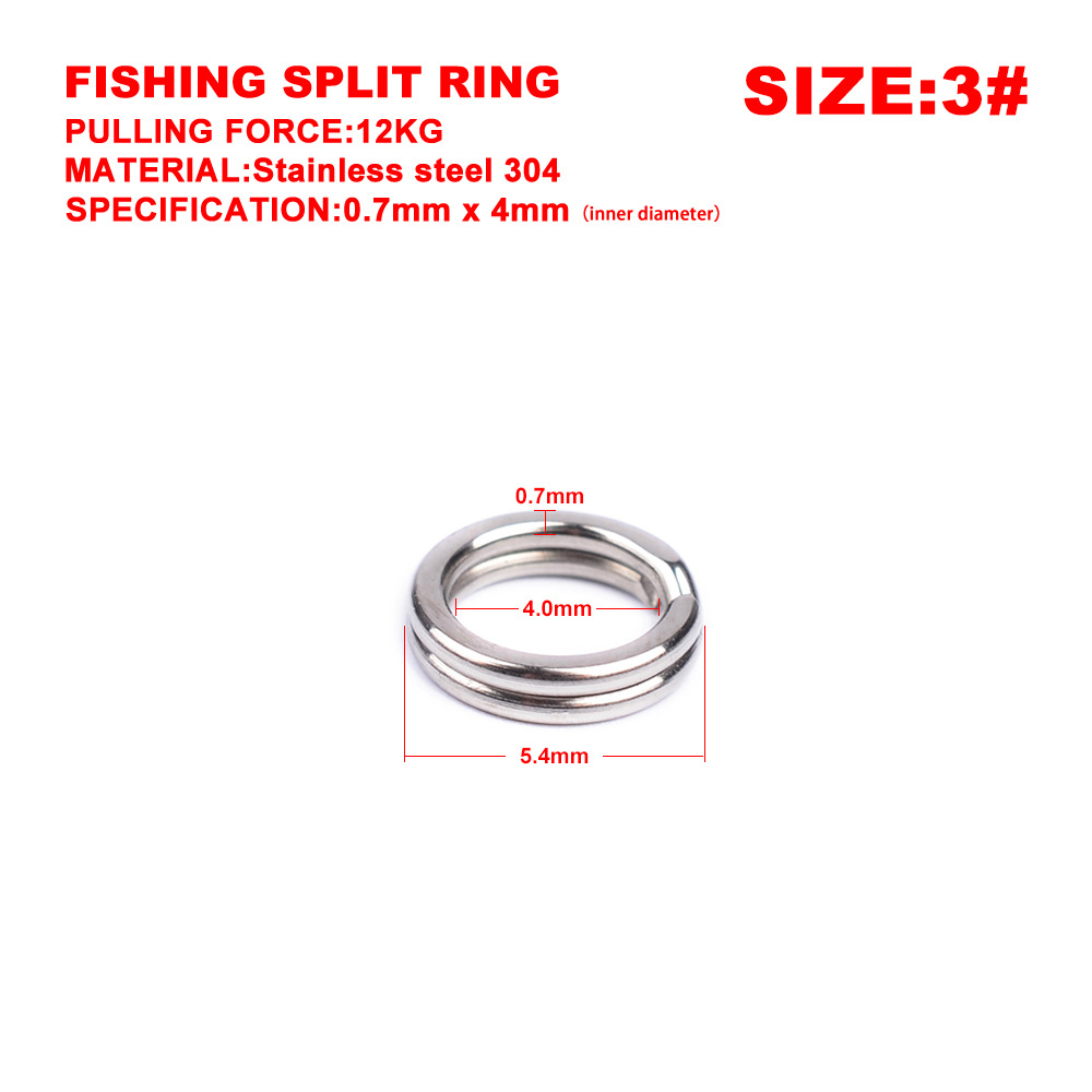 30 Pcs/Lot Stainless Steel Split Ring Diameter From 4mm To 7.5mm Heavy Duty Fishing Double Ring Connector Fishing Accessories