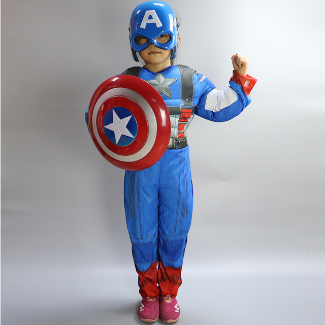 Halloween Costume for Kids Boys Girls Captain America Costume Cosplay Anime Superman Costumes Kids (Jumpsuit+mask)