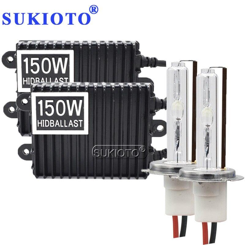 SUKIOTO voiture phare H11 xénon H1 H7 150 W hid xénon kit H3 H4 bixenon D2H D2Y 4300 K-8000 K auto brouillard lampe haute puissance ballast kit