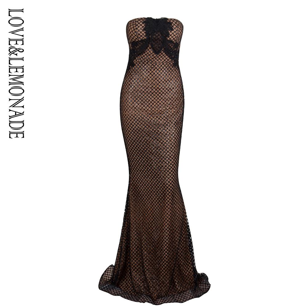Love Lemonade Black Tube Top Shape Lace Lattice Glitter Glued Material Long Dress LM1338