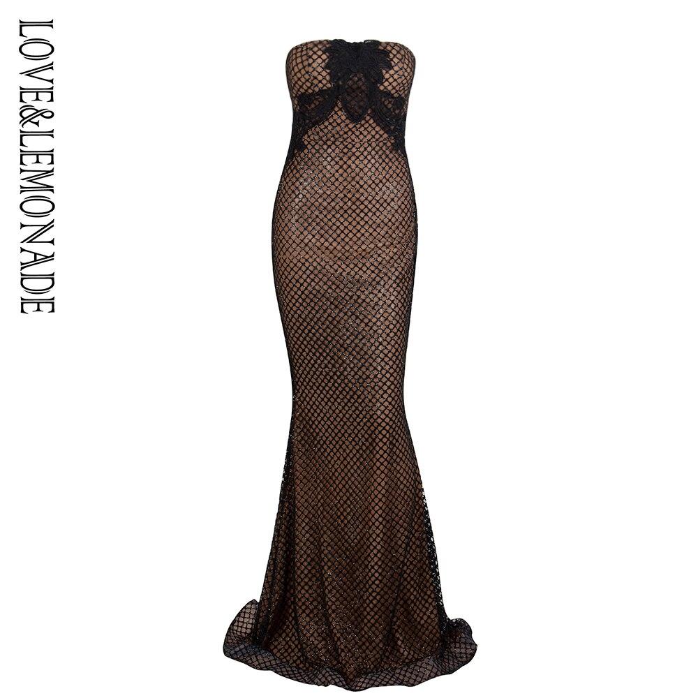 Vestido largo de Material pegado con purpurina de encaje con forma superior de Tubo negro Love & Lemonade LM1338-in Vestidos from Ropa de mujer    1