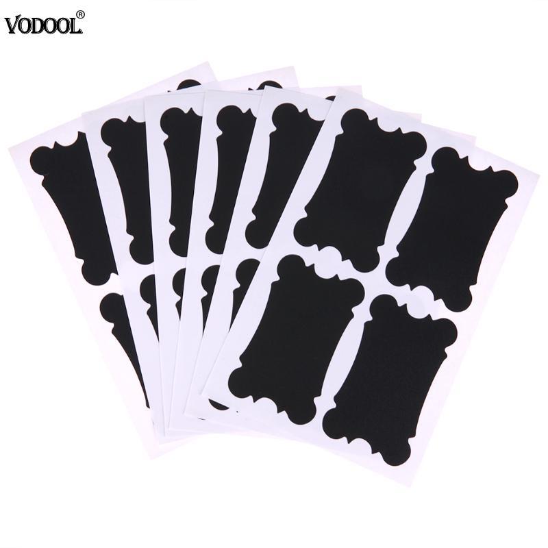 VODOOL 24pcs/6set Fine Removable Anti Static Blackboard Label CUP Jar Bin Can Labels Wall Stickers For Decorative