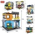 Строительные блоки Hsanhe 3 в 1  городская серия  уличный магазин  архитектурный магазин  зоомагазин  кутюр  бильярдный зал  опера  детские игруш...