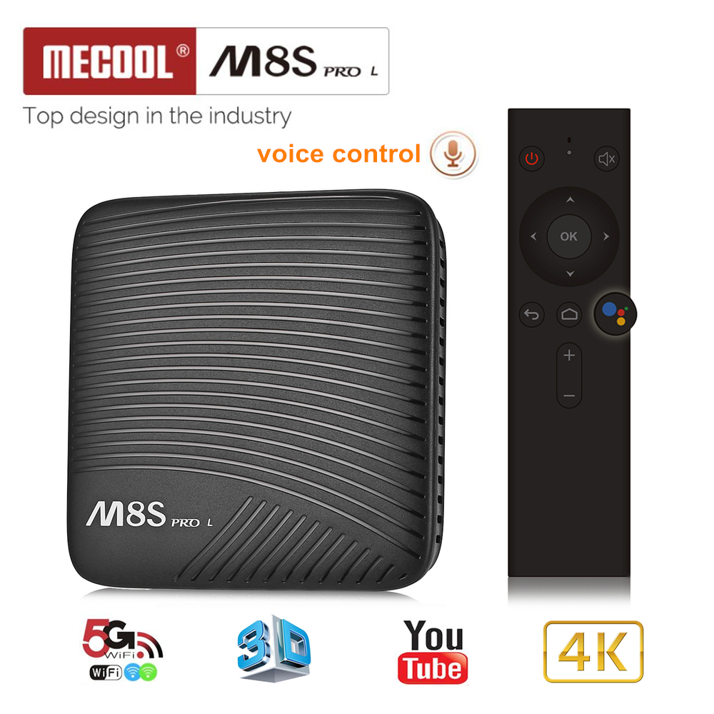 Mecool M8S L PRO Smart TV caja Android 7,1 Amlogic S912 3 GB RAM 32 GB ROM 5G Wifi BT4.1 decodificador con Control remoto de voz