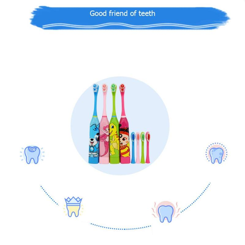 Children Electric Toothbrush Cartoon Pattern Double-sided Tooth Brush Electric Teeth Brush For Kids with 2pcs Replacement Head3
