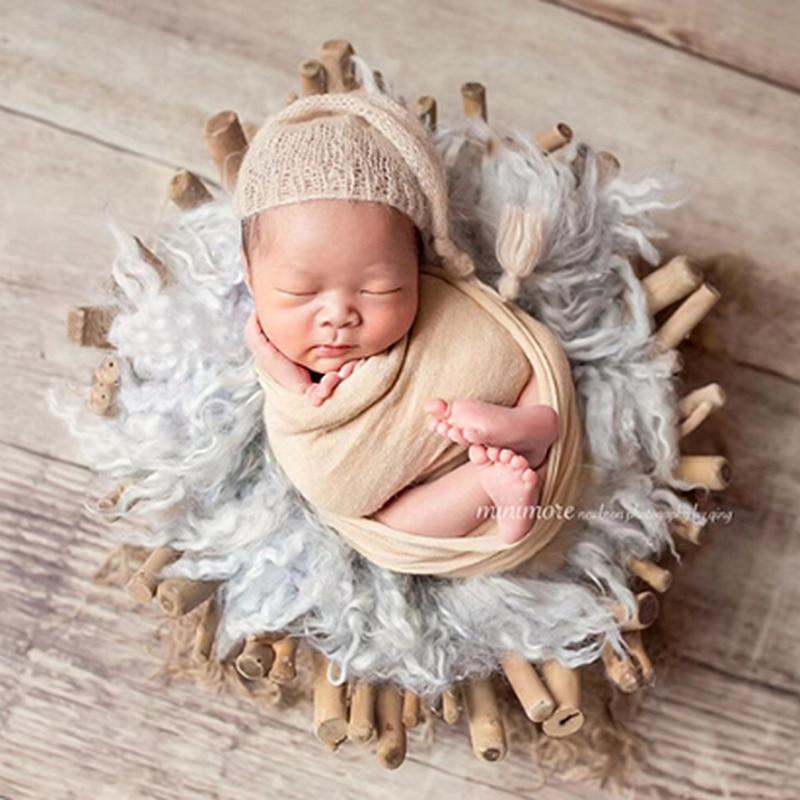 Créatif à la main lit en bois nouveau-né photographie accessoires infantile lisse branche bébé tir accessoires - 5