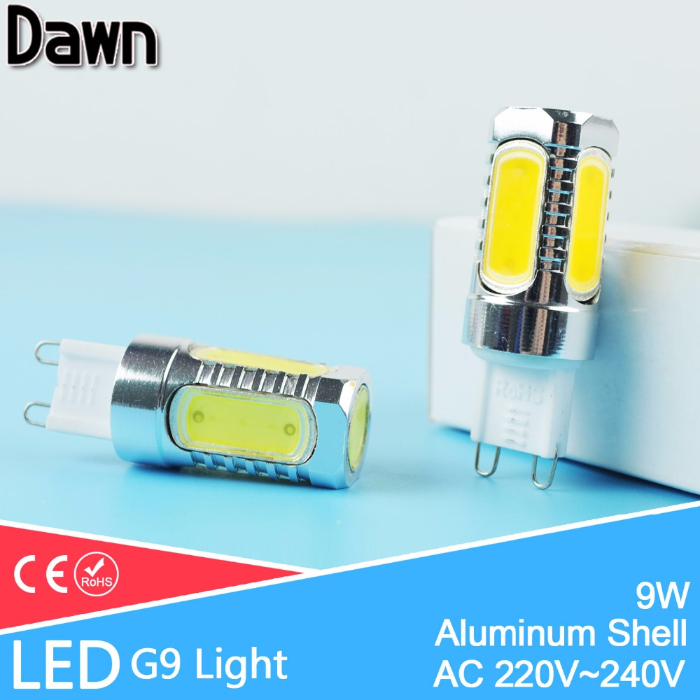 G9 110V~220V LED Light 9W COB Aluminum LED Lamp Corn Bulb Droplight Chandelier Spotlight Replace Halogen Crystal Lampara