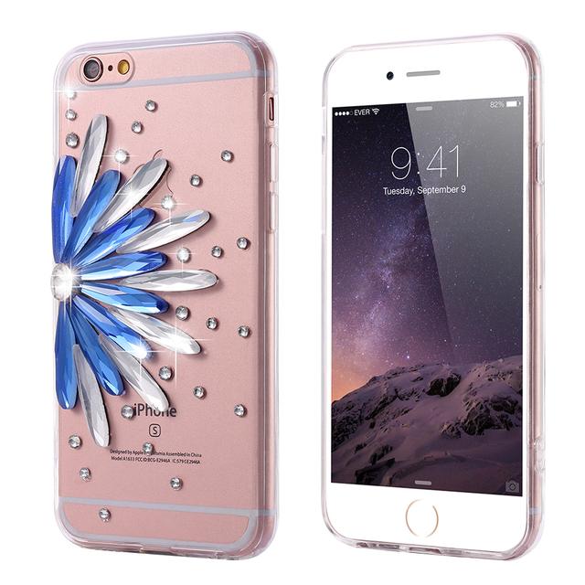 Diamond Flower Rhinestone Case For iPhone