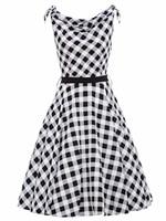 2017 Women Summer Sashes Sleeveless V Neck Party Retro Dresses Vintage Dress 1950s Print Style Retro
