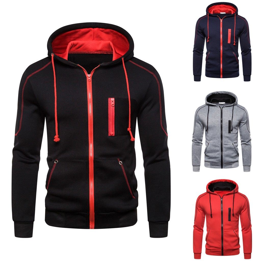 Men Autum Winter New Fashion Long Sleeve Hooded Sweatshirt Zipper Outwear Tops Blouse Wholesale Free Ship Мужской свитер Z4