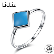 925 Sterling Silver Geometric Square Turquoise Stone Ring